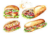 Fast food set. Hamburger, Doner kebab, sandwich, hot dog. Watercolor hand drawn illustration, isolated on white background