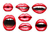 Sexy Plump puffy lips with red lipstick set. Watercolor hand drawn illustration,  isolated on white background