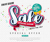 Sale banner transparency template design, Big sale special up to 80% off. Super Sale, end of season special offer banner. vector illustration.