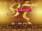 37 years anniversary logo template on gold background. 37th celebrating golden numbers with red ribbon vector and confetti isolated design elements