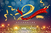 2 years anniversary logo template on gold and blue background. 2nd celebrating golden numbers with red ribbon vector and confetti isolated design elements