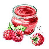 Organic fruit jam. Glass jar of raspberry marmalade and fresh berries isolated on white background. Watercolor hand drawn  illustration
