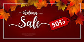 50% special offer Autumn sale background layout decorate with leaves for shopping. Sale colorful seasonal fall leaves in orange background template for shopping discount, promotion, poster, web banner