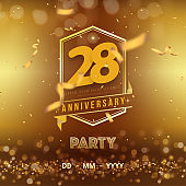 28 years anniversary logo template on gold background. 28th celebrating golden numbers with red ribbon vector and confetti isolated design elements