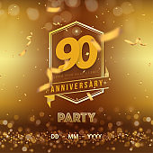 90 years anniversary logo template on gold background. 90th celebrating golden numbers with ribbon and confetti isolated design elements.