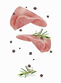 vector illustration of a slice of ham with black pepper and rosemary