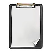 Vector. Mock Up. Black clipboard with a white blank sheet of paper.