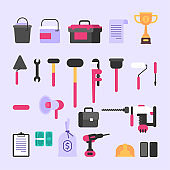 Tools and various construction items. Set of objects
