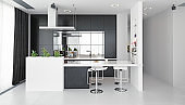 modern kitchen black&white interior.