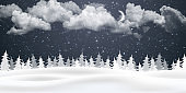 Christmas night background with clouds, moon and falling snow. Winter landscape. Vector illustration