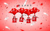 SALE, Happy Valentines Day background, red balloon in form of heart with bow and ribbon and Paper shopping bag. Vector illustration