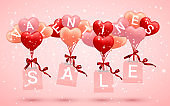 SALE, Happy Valentines Day background, red, pink and orange balloon in form of heart with bow and ribbon and Paper shopping bag. Vector illustration