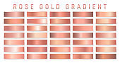Collection of rose gold metallic gradient. Brilliant plates with golden effect. Vector illustration