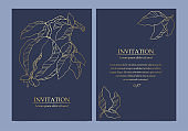 Collection of luxury invitation card with pomegranate