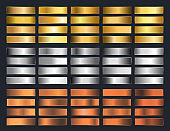 Collection of gold, silver, chrome, bronze metallic gradient. Brilliant plates with gold, silver, chrome, bronze metallic effect. Vector illustration