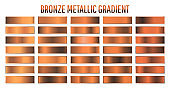 Collection of bronze metallic gradient. Brilliant plates with bronze effect. Vector illustration