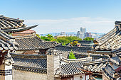 Scenic view of black tile roofs of traditional Korean houses