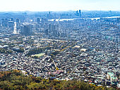 above view of Seoul city from Seoul Tower