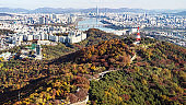 panoramic view of Seoul city with Hangang River