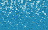 Christmas snow. Falling snowflakes on blue background. Snowfall. Vector illustration