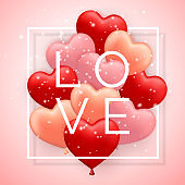 Love, Happy Valentines Day, red, pink and orange balloon in form of heart with ribbon. Vector illustration