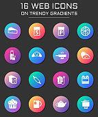 kitchen icon set. kitchen web icons on round trendy gradients
