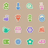 flower shop vector stickers
