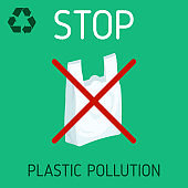 say no to plastic bag vector illustration. plastic bag rejection to save the environment. no plastic pollution for better ecology