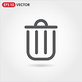 trash can account ui web button. ui elements. trash can vector icon for web, mobile and user interface design