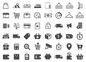 Shopping vector icons set isolated on white background. Shopping commercial business icons for web, mobile apps, ui design and print products