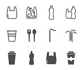 plastic products vector icon set.