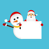 Santa Claus and snowman with white blank