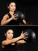 Hispanic young fitness female instructor exercising with pilates ball