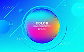 Trendy gradient blue colors with flow and fluid shapes background