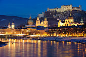 romantic skyline of city Salzburg in Austria at christmas