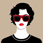 woman wearing big red sunglasses