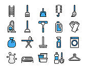 Cleaning Equipment icon set. Vector thin line style. Pixel perfect preview.This file has stroke layer and color layer can be modified.