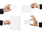 note paper card blank sign hand holding businessman suit