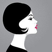 Beautiful woman, profile
