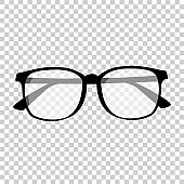 Glasses isolated. Vector glasses model icons. Sunglasses, glasses, isolated on white background. Silhouettes