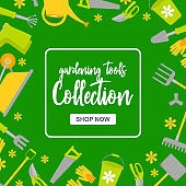 Special sale poster with garden tools on green background. Gardening intstuments collection with button shop now. Vector Illustration