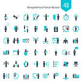 Business management, business strategy and human resources icon set