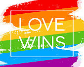 Hand draw LGBT pride flag in vector format. Rainbow flag with word LOVE WINS for poster. LGBTQ love symbol background. Concept design.