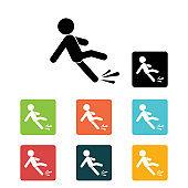 Fall hazard icon. Slippery Surface Information. Vector illustration.