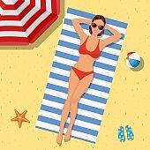 Girl on the beach with a bikini. Summer time