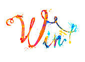 Win. Calligraphic word of splash paint