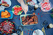 barbecue pork ribs on the table with other food