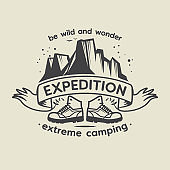 Emblem with text Expedition, Extreme Camping