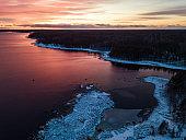 Dawn on the skerries of Lake Ladoga