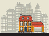 Home at the city in flat design style